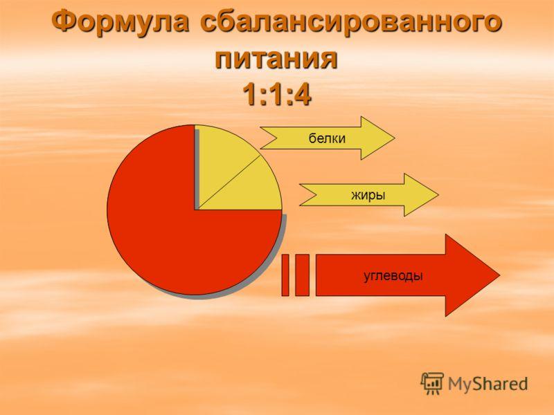 Формула сбалансированного питания 1:1:4 жиры углеводы белки
