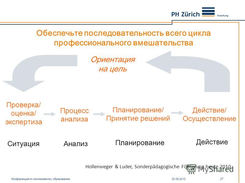 Обеспечьте последовательность всего цикла профессионального вмешательства Ситуация Анализ Планирование Действие Проверка/ о ценка/ э кспертиза Процесс анализа Планирование/ Принятие решений Действие/ Осуществление Ориентация на цель Конференция по ин