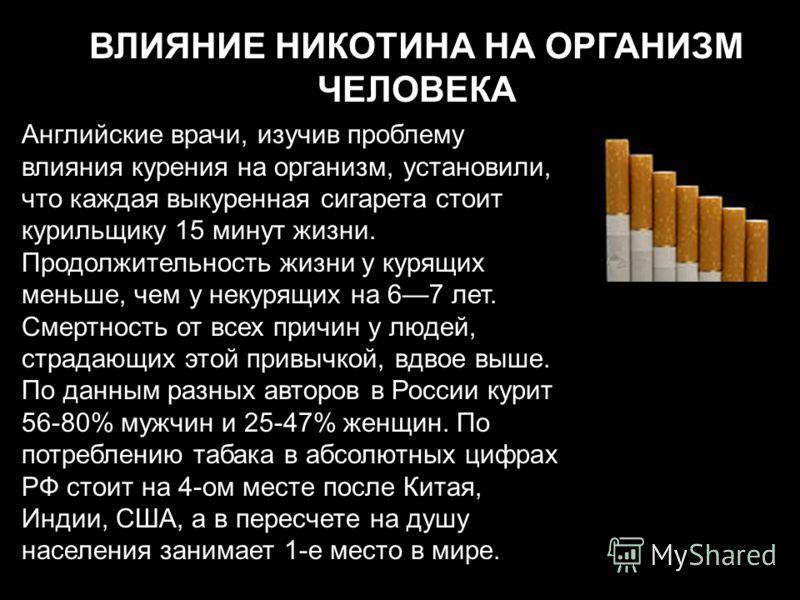 ВЛИЯНИЕ НИКОТИНА НА ОРГАНИЗМ ЧЕЛОВЕКА Английские врачи, изучив проблему влияния курения на организм, установили, что каждая выкуренная сигарета стоит курильщику 15 минут жизни. Продолжительность жизни у курящих меньше, чем у некурящих на 67 лет. Смер