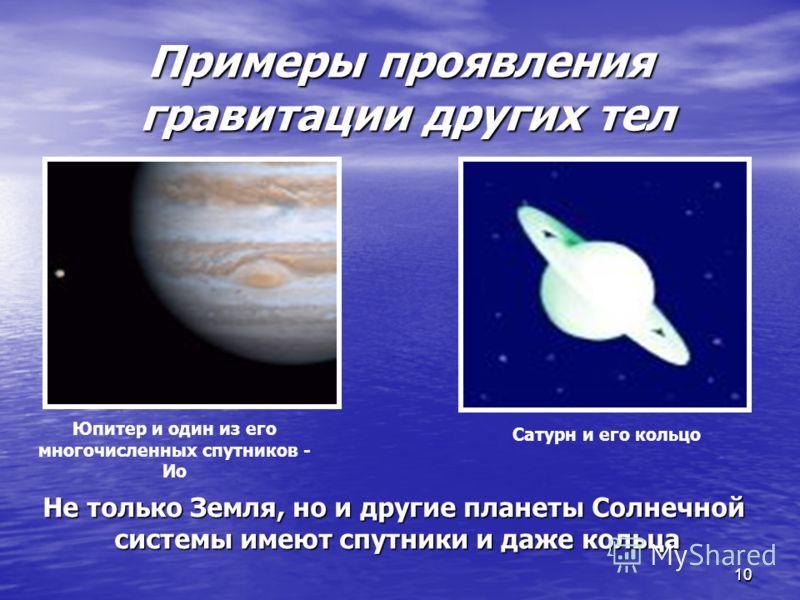1010 Примеры проявления гравитации других тел Юпитер и один из его многочисленных спутников - Ио Сатурн и его кольцо Не только Земля, но и другие планеты Солнечной системы имеют спутники и даже кольца системы имеют спутники и даже кольца