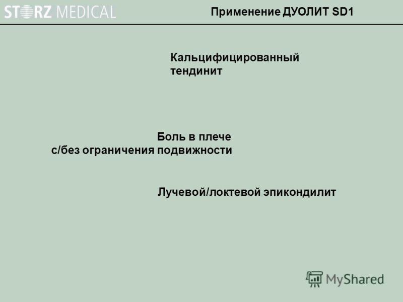Кальцифицированный тендинит Боль в плече с/без ограничения подвижности Лучевой/локтевой эпикондилит Применение ДУОЛИТ SD1
