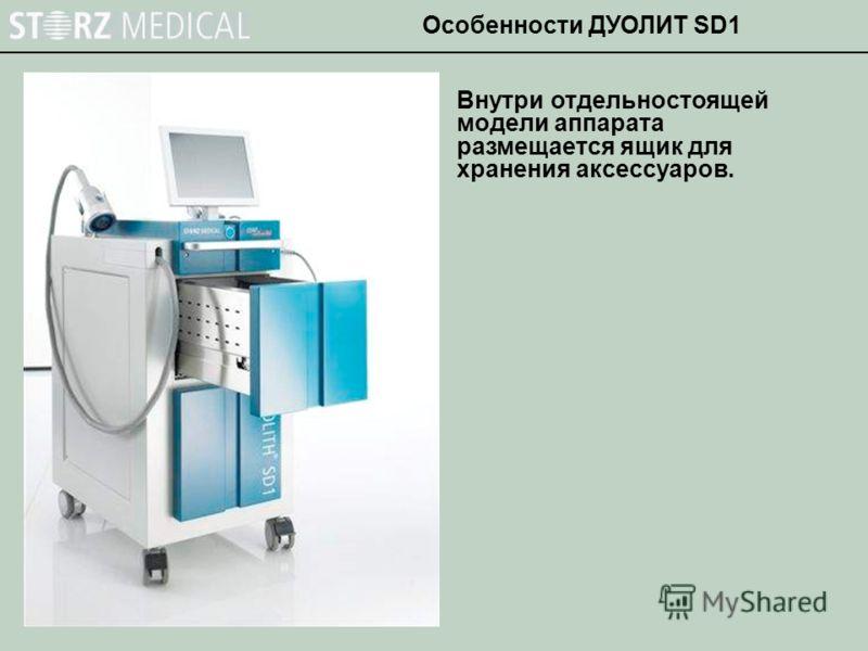 Внутри отдельностоящей модели аппарата размещается ящик для хранения аксессуаров. Особенности ДУОЛИТ SD1