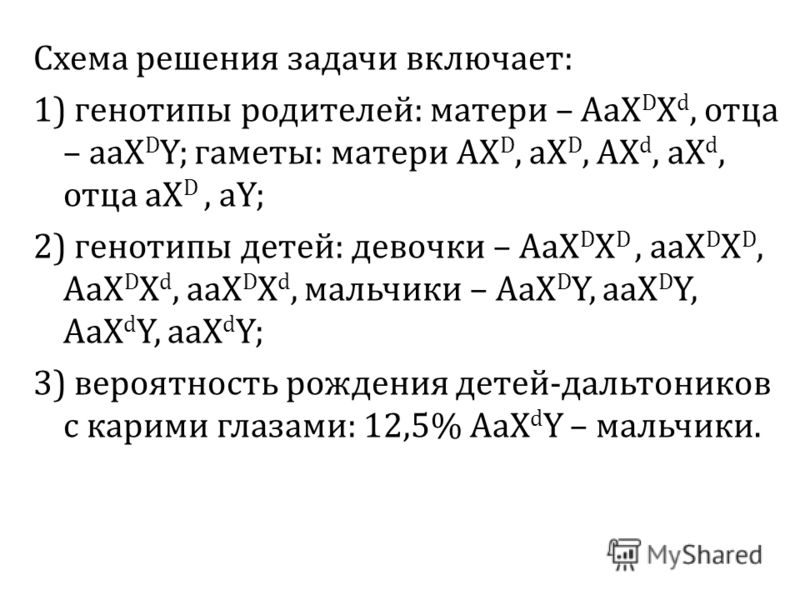 Схема решения задачи включает : 1) генотипы родителей : матери – AaX D X d, отца – aaX D Y; гаметы : матери AX D, aX D, AX d, aX d, отца aX D, aY; 2) генотипы детей : девочки – AaX D X D, аа X D X D, AaX D X d, аа X D X d, мальчики – AaX D Y, aaX D Y