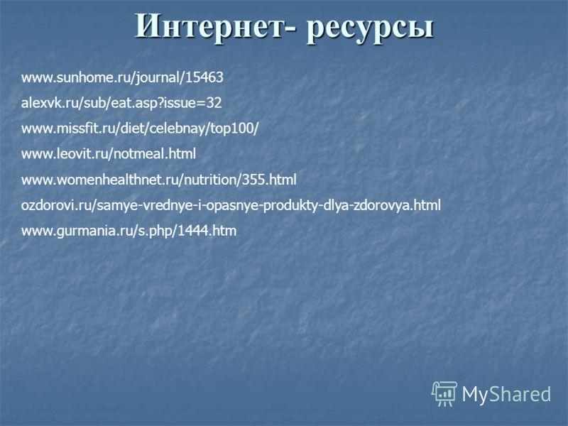 Интернет- ресурсы www.sunhome.ru/journal/15463 alexvk.ru/sub/eat.asp?issue=32 www.missfit.ru/diet/celebnay/top100/ www.leovit.ru/notmeal.html www.womenhealthnet.ru/nutrition/355.html ozdorovi.ru/samye-vrednye-i-opasnye-produkty-dlya-zdorovya.html www
