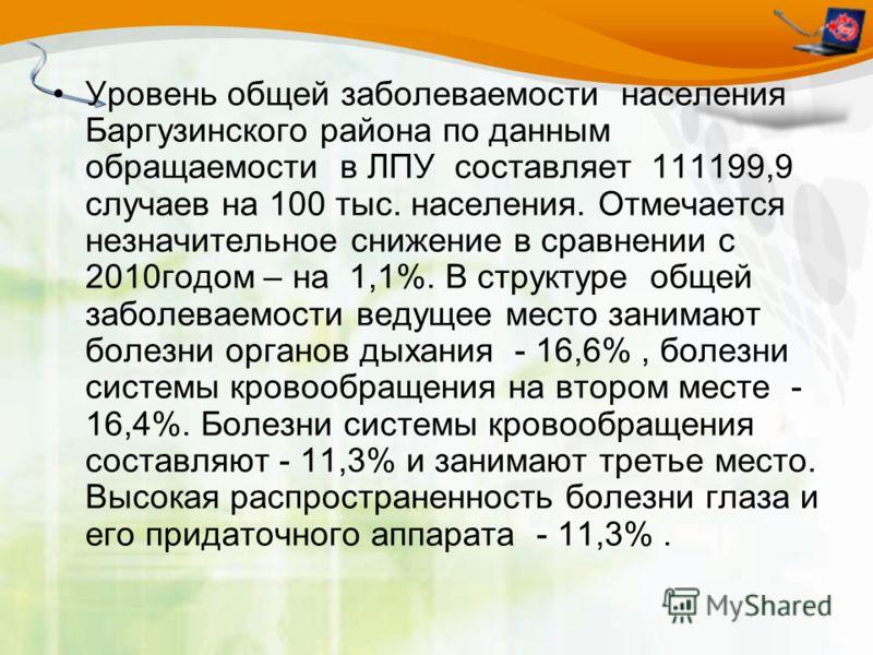 Уровень общей заболеваемости населения Баргузинского района по данным обращаемости в ЛПУ составляет 111199,9 случаев на 100 тыс. населения. Отмечается незначительное снижение в сравнении с 2010годом – на 1,1%. В структуре общей заболеваемости ведущее