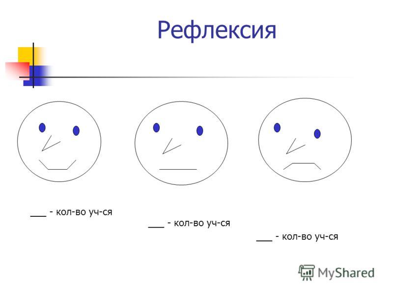 Рефлексия ___ - кол-во уч-ся