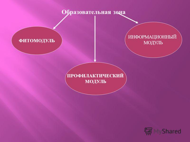 Образовательная зона ФИТОМОДУЛЬ ПРОФИЛАКТИЧЕСКИЙ МОДУЛЬ ИНФОРМАЦИОННЫЙ МОДУЛЬ