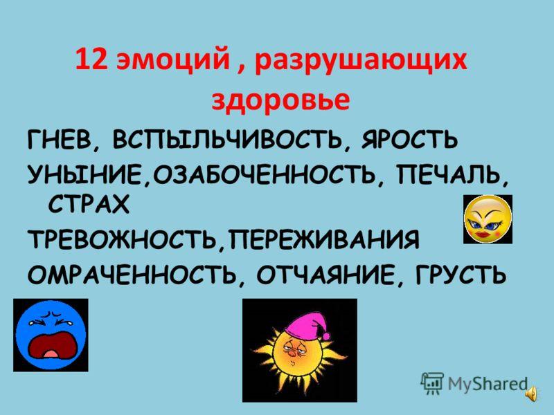 12 эмоций, разрушающих здоровье ГНЕВ, ВСПЫЛЬЧИВОСТЬ, ЯРОСТЬ УНЫНИЕ,ОЗАБОЧЕННОСТЬ, ПЕЧАЛЬ, СТРАХ ТРЕВОЖНОСТЬ,ПЕРЕЖИВАНИЯ ОМРАЧЕННОСТЬ, ОТЧАЯНИЕ, ГРУСТЬ