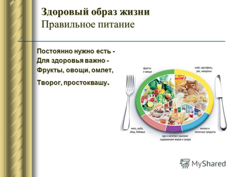 Здоровый образ жизни Правильное питание Постоянно нужно есть - Для здоровья важно - Фрукты, овощи, омлет, Творог, простоквашу.