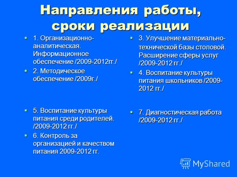Направления работы, сроки реализации 1. Организационно- аналитическая. Информационное обеспечение /2009-2012гг./ 1. Организационно- аналитическая. Информационное обеспечение /2009-2012гг./ 2. Методическое обеспечение /2009г./ 2. Методическое обеспече
