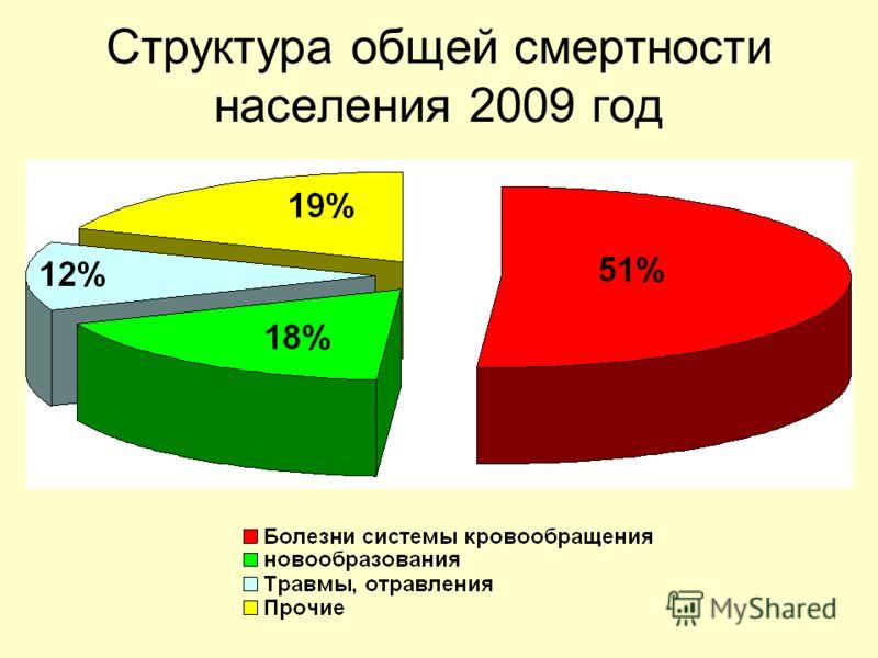 Структура общей смертности населения 2009 год