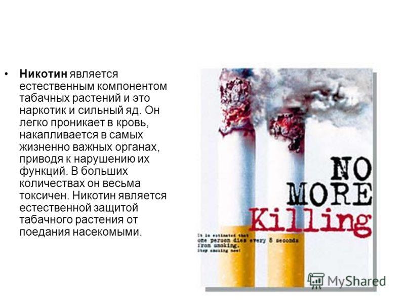 Никотин является естественным компонентом табачных растений и это наркотик и сильный яд. Он легко проникает в кровь, накапливается в самых жизненно важных органах, приводя к нарушению их функций. В больших количествах он весьма токсичен. Никотин явля