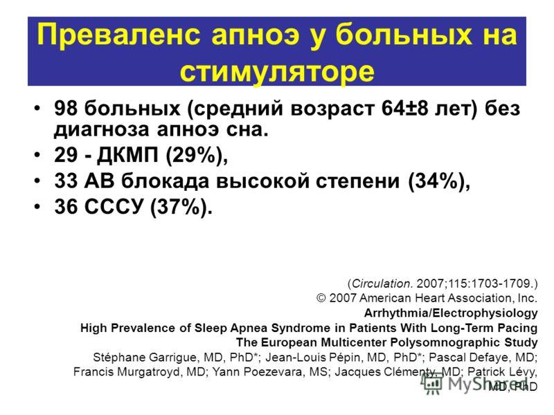 Преваленс апноэ у больных на стимуляторе 98 больных (средний возраст 64±8 лет) без диагноза апноэ сна. 29 - ДКМП (29%), 33 АВ блокада высокой степени (34%), 36 СССУ (37%). (Circulation. 2007;115:1703-1709.) © 2007 American Heart Association, Inc. Arr