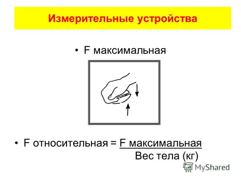 Измерительные устройства F максимальная F относительная = F максимальная Вес тела (кг)