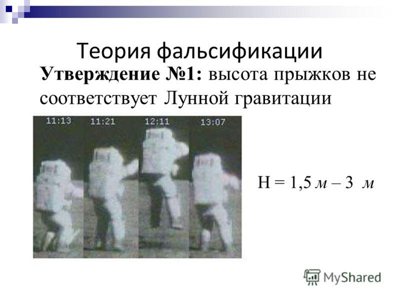 Теория фальсификации Утверждение 1: высота прыжков не соответствует Лунной гравитации H = 1,5 м – 3 м