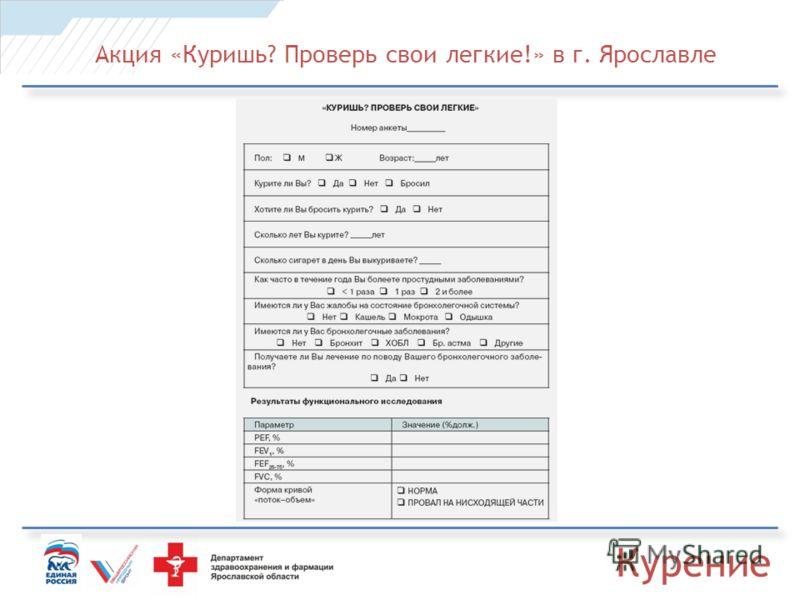 Акция «Куришь? Проверь свои легкие!» в г. Ярославле Курение