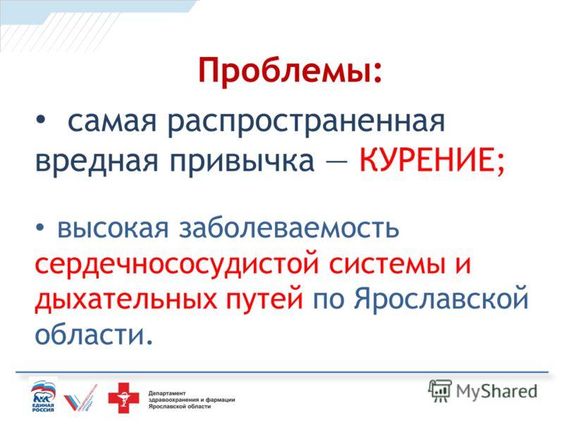 Проблемы: самая распространенная вредная привычка КУРЕНИЕ; высокая заболеваемость сердечнососудистой системы и дыхательных путей по Ярославской области.