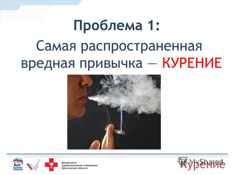 Проблема 1: Самая распространенная вредная привычка КУРЕНИЕ Курение