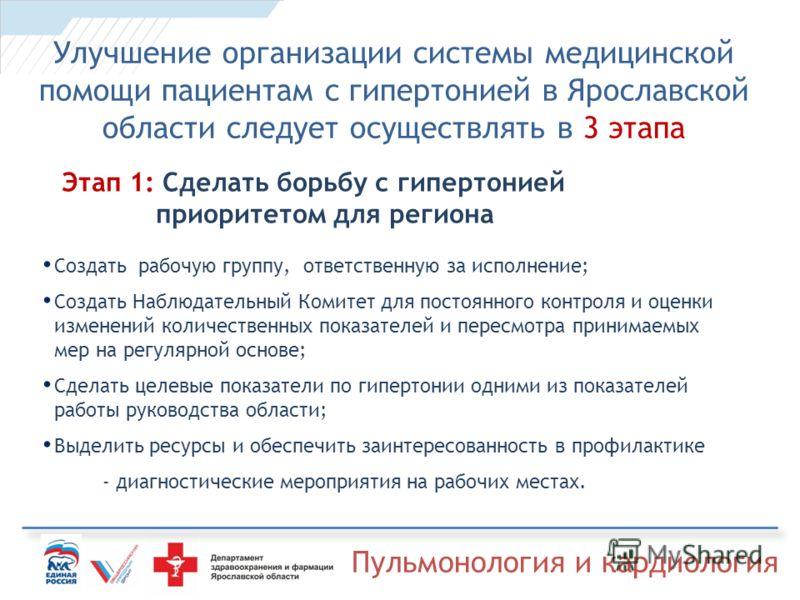 Пульмонология и кардиология Улучшение организации системы медицинской помощи пациентам с гипертонией в Ярославской области следует осуществлять в 3 этапа Этап 1: Сделать борьбу с гипертонией приоритетом для региона Создать рабочую группу, ответственн