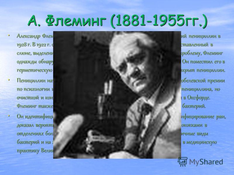 А. Флеминг (1881-1955гг.) Александр Флеминг (1881-1955 гг.) - английский микробиолог, открывший пенициллин в 1928 г. В 1922 г. обнаружил лизоцим - антибактериальный энзим, представленный в слюне, выделениях органов носовой секреции и слезах. Разрабат