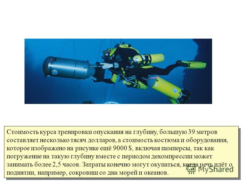Стоимость курса тренировки опускания на глубину, большую 39 метров составляет несколько тясяч долларов, а стоимость костюма и оборудования, которое изображено на рисунке ещё 9000 $, включая памперсы, так как погружение на такую глубину вместе с перио