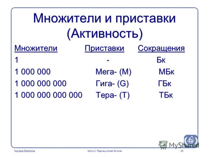 Nuclear Medicine 25 Множители и приставки (Активность) Множители Приставки Сокращения 1 - Бк 1 000 000 Мега- (M) МБк 1 000 000 000 Гига- (G) ГБк 1 000 000 000 000 Тера- (T) ТБк Часть 2: Радиационная Физика