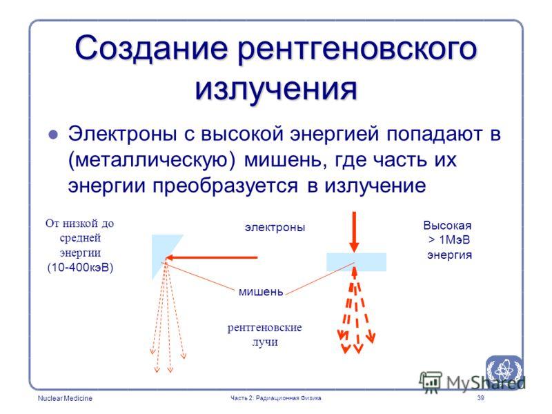 Nuclear Medicine 39 Создание рентгеновского излучения l l Электроны с высокой энергией попадают в (металлическую) мишень, где часть их энергии преобразуется в излучение мишень электроны рентгеновские лучи От низкой до средней энергии (10-400кэВ) Высо