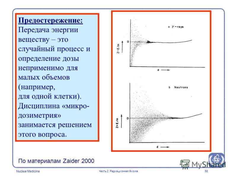 Nuclear Medicine 58 Предостережение: Передача энергии веществу – это случайный процесс и определение дозы неприменимо для малых объемов (например, для одной клетки). Дисциплина «микро- дозиметрия» занимается решением этого вопроса. По материалам Zaid