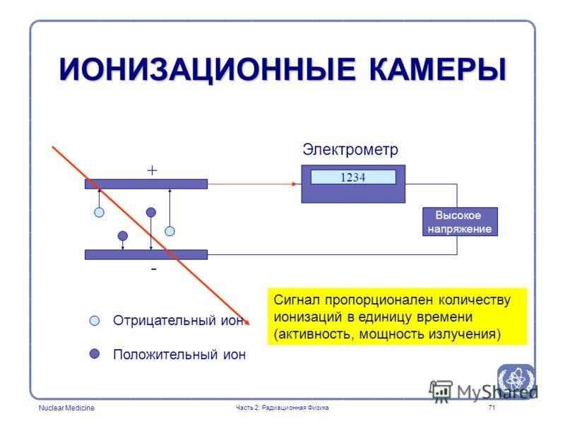 Nuclear Medicine 71 ИОНИЗАЦИОННЫЕ КАМЕРЫ Высокое напряжение + - Отрицательный ион Положительный ион 1234 Электрометр Сигнал пропорционален количеству ионизаций в единицу времени (активность, мощность излучения) Часть 2: Радиационная Физика