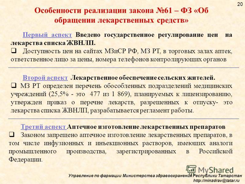 Управление по фармации Министерства здравоохранения Республики Татарстан http://minzdrav@tatar.ru 20 Первый аспект Введено государственное регулирование цен на лекарства списка ЖВНЛП. Доступность цен на сайтах МЗиСР РФ, МЗ РТ, в торговых залах аптек,