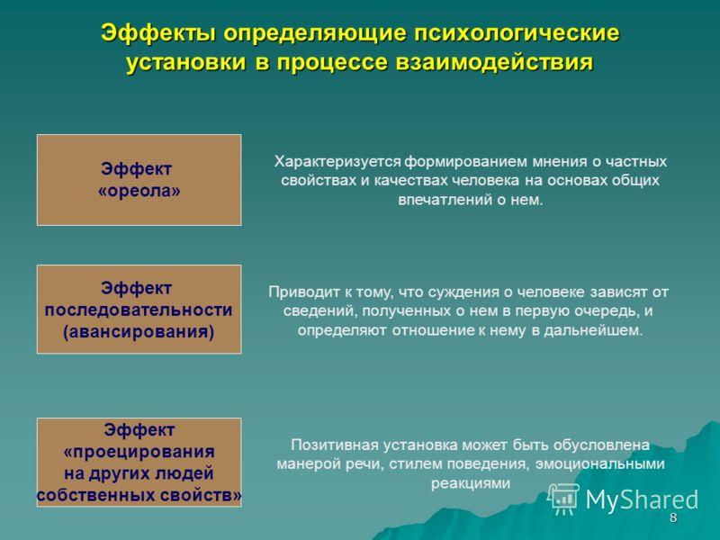 8 Эффекты определяющие психологические установки в процессе взаимодействия Эффект «ореола» Эффект последовательности (авансирования) Эффект «проецирования на других людей собственных свойств» Характеризуется формированием мнения о частных свойствах и