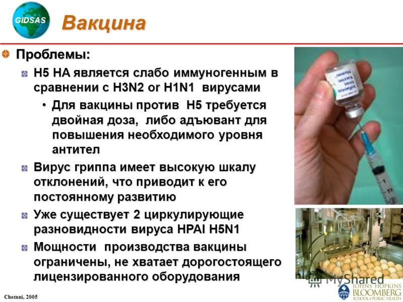 GIDSAS Chotani, 2005 Вакцина Проблемы: H5 HA является слабо иммуногенным в сравнении с H3N2 or H1N1 вирусами Для вакцины против H5 требуется двойная доза, либо адъювант для повышения необходимого уровня антителДля вакцины против H5 требуется двойная