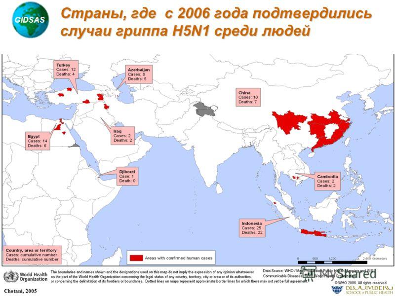 GIDSAS Chotani, 2005 Страны, где с 2006 года подтвердились случаи гриппа H5N1 среди людей