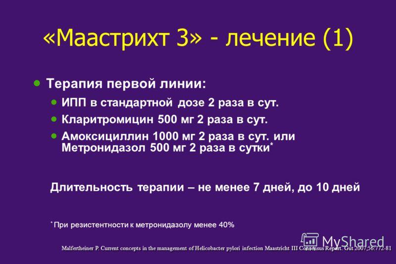 «Маастрихт 3» - лечение (1) Терапия первой линии: ИПП в стандартной дозе 2 раза в сут. Кларитромицин 500 мг 2 раза в сут. Амоксициллин 1000 мг 2 раза в сут. или Метронидазол 500 мг 2 раза в сутки * Длительность терапии – не менее 7 дней, до 10 дней *