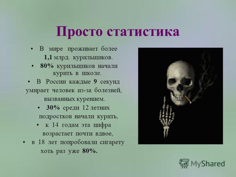 Просто статистика В мире проживает более 1,1 млрд. курильщиков. 80% курильщиков начали курить в школе. В России каждые 9 секунд умирает человек из-за болезней, вызванных курением. 30% среди 12 летних подростков начали курить, к 14 годам эта цифра воз