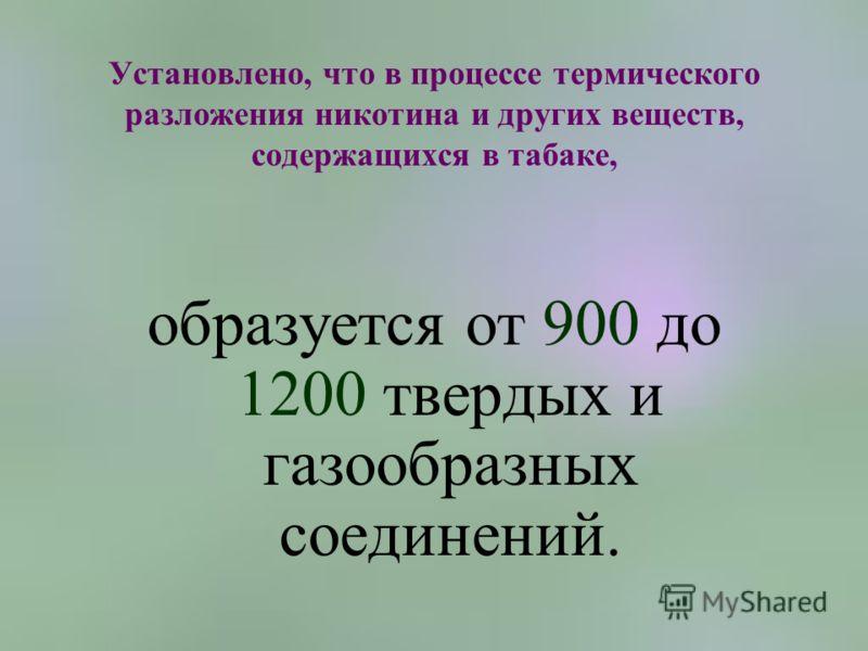 Установлено, что в процессе термического разложения никотина и других веществ, содержащихся в табаке, образуется от 900 до 1200 твердых и газообразных соединений.