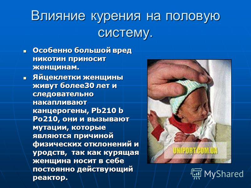 Влияние курения на половую систему. Особенно большой вред никотин приносит женщинам. Особенно большой вред никотин приносит женщинам. Яйцеклетки женщины живут более30 лет и следовательно накапливают канцерогены, Pb210 b Po210, они и вызывают мутации,