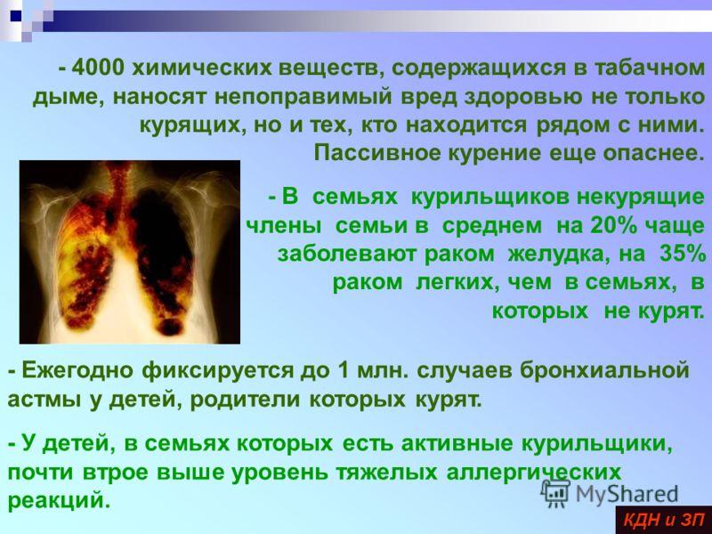 - 4000 химических веществ, содержащихся в табачном дыме, наносят непоправимый вред здоровью не только курящих, но и тех, кто находится рядом с ними. Пассивное курение еще опаснее. - В семьях курильщиков некурящие члены семьи в среднем на 20% чаще заб
