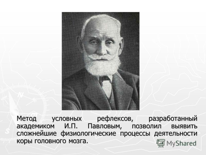 Метод условных рефлексов, разработанный академиком И.П. Павловым, позволил выявить сложнейшие физиологические процессы деятельности коры головного мозга.
