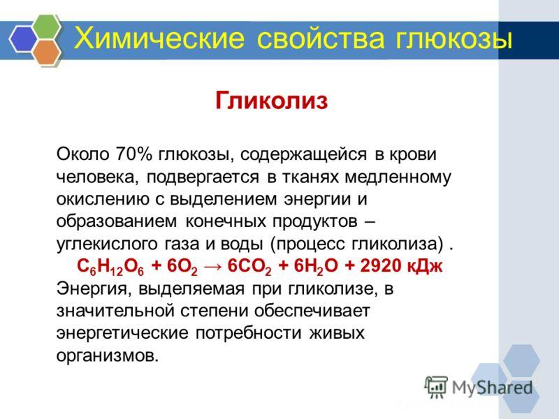 Химические свойства глюкозы Около 70% глюкозы, содержащейся в крови человека, подвергается в тканях медленному окислению с выделением энергии и образованием конечных продуктов – углекислого газа и воды (процесс гликолиза). C 6 H 12 O 6 + 6O 2 6CO 2 +