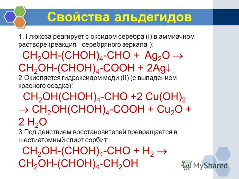 Свойства альдегидов 1. Глюкоза реагирует с оксидом серебра (I) в аммиачном растворе (реакция серебряного зеркала): CH 2 OH-(CHOH) 4 -CHО + Ag 2 O CH 2 OH-(CHOH) 4 -COOH + 2Ag 2.Окисляется гидроксидом меди (II) (с выпадением красного осадка): CH 2 OH(