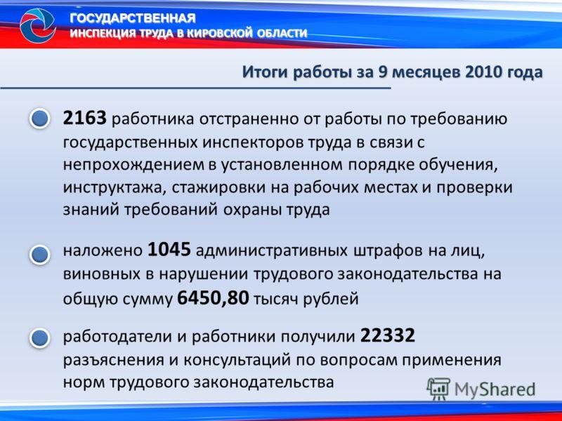 2163 работника отстраненно от работы по требованию государственных инспекторов труда в связи с непрохождением в установленном порядке обучения, инструктажа, стажировки на рабочих местах и проверки знаний требований охраны труда наложено 1045 админист
