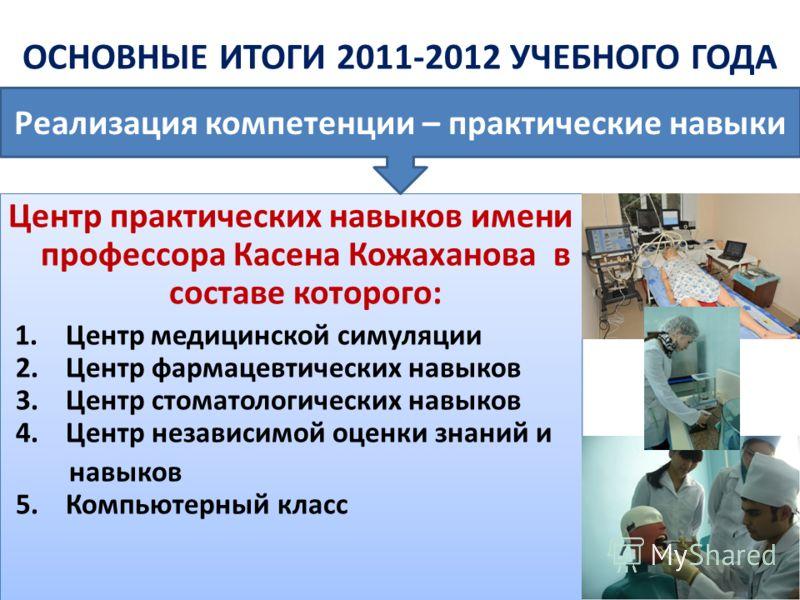Центр практических навыков имени профессора Касена Кожаханова в составе которого: 1. Центр медицинской симуляции 2. Центр фармацевтических навыков 3. Центр стоматологических навыков 4. Центр независимой оценки знаний и навыков 5. Компьютерный класс Ц