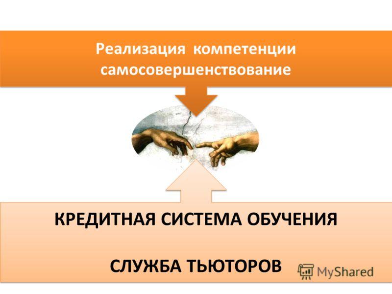 Реализация компетенции самосовершенствование КРЕДИТНАЯ СИСТЕМА ОБУЧЕНИЯ СЛУЖБА ТЬЮТОРОВ КРЕДИТНАЯ СИСТЕМА ОБУЧЕНИЯ СЛУЖБА ТЬЮТОРОВ
