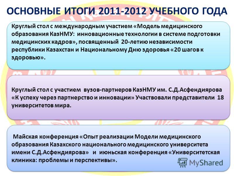 Круглый стол с международным участием «Модель медицинского образования КазНМУ: инновационные технологии в системе подготовки медицинских кадров», посвященный 20-летию независимости республики Казахстан и Национальному Дню здоровья «20 шагов к здоровь