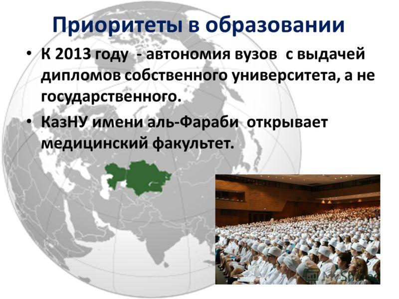 К 2013 году - автономия вузов с выдачей дипломов собственного университета, а не государственного. КазНУ имени аль-Фараби открывает медицинский факультет. Приоритеты в образовании