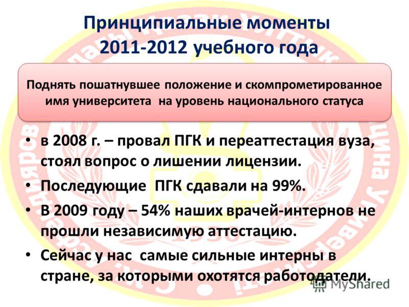 Принципиальные моменты 2011-2012 учебного года в 2008 г. – провал ПГК и переаттестация вуза, стоял вопрос о лишении лицензии. Последующие ПГК сдавали на 99%. В 2009 году – 54% наших врачей-интернов не прошли независимую аттестацию. Сейчас у нас самые