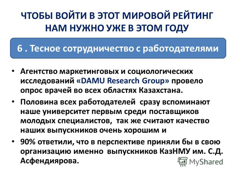 Агентство маркетинговых и социологических исследований «DAMU Research Group» провело опрос врачей во всех областях Казахстана. Половина всех работодателей сразу вспоминают наше университет первым среди поставщиков молодых специалистов, так же считают