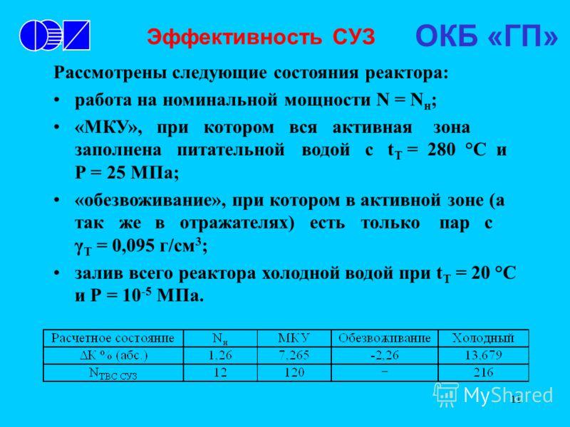 11 Эффективность СУЗ Рассмотрены следующие состояния реактора: работа на номинальной мощности N = N н ; «МКУ», при котором вся активная зона заполнена питательной водой с t Т = 280 °С и Р = 25 МПа; «обезвоживание», при котором в активной зоне (а так
