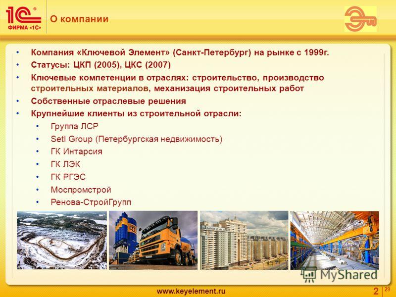 2 29 www.keyelement.ru Компания «Ключевой Элемент» (Санкт-Петербург) на рынке с 1999г. Статусы: ЦКП (2005), ЦКС (2007) Ключевые компетенции в отраслях: строительство, производство строительных материалов, механизация строительных работ Собственные от